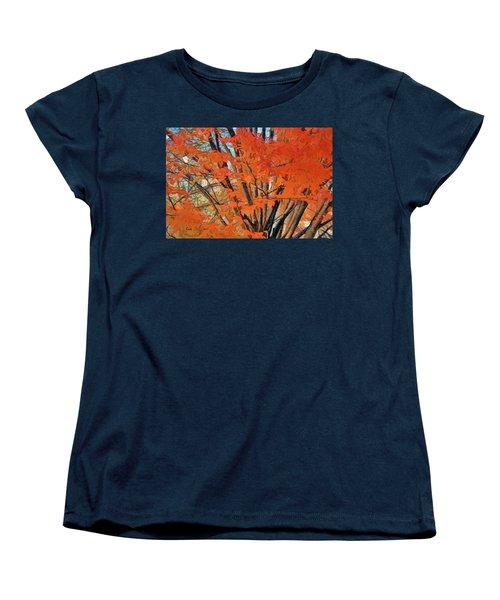 Flaming Fall Foliage Women's T-Shirt (Standard Cut) by Terry Cork