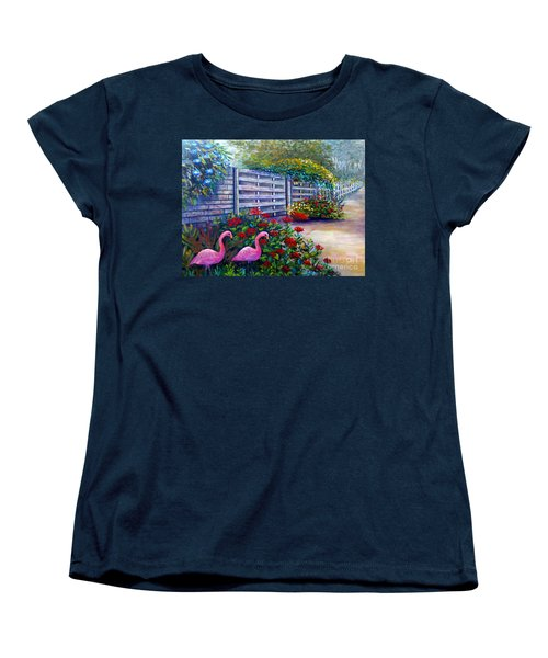 Flamingo Gardens Women's T-Shirt (Standard Cut) by Lou Ann Bagnall