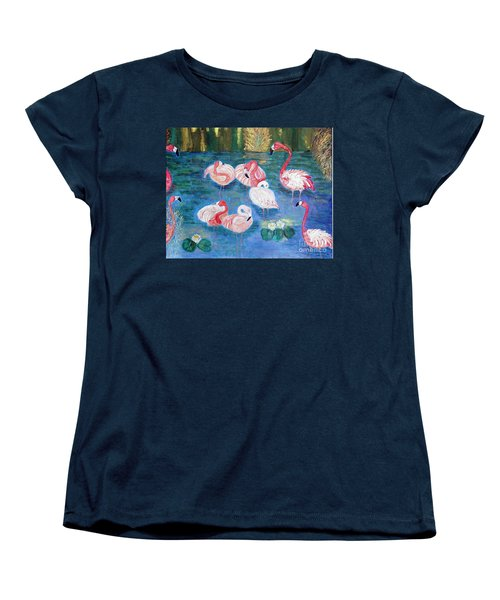 Flamingos Diptich Right Women's T-Shirt (Standard Cut) by Vicky Tarcau