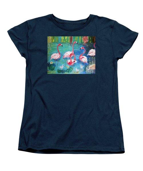 Flamingos Diptich Left Women's T-Shirt (Standard Cut) by Vicky Tarcau