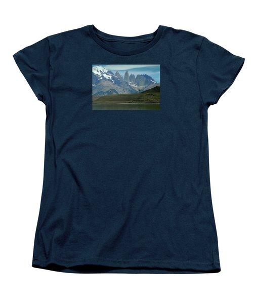 Flamingos Over Lago Nordenskjold Women's T-Shirt (Standard Cut) by Alan Toepfer