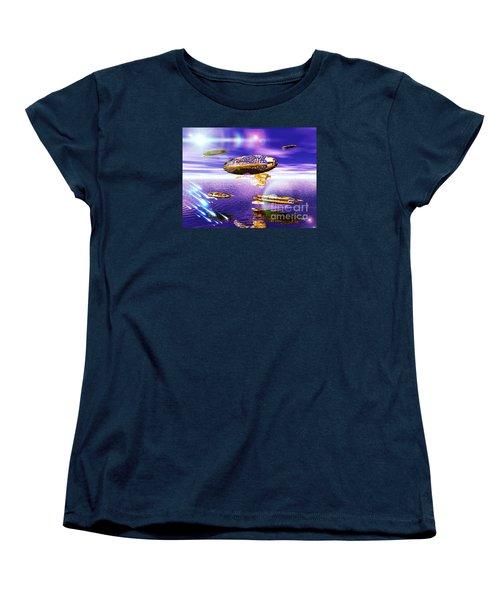 Women's T-Shirt (Standard Cut) featuring the digital art Fleet Dense by Jacqueline Lloyd