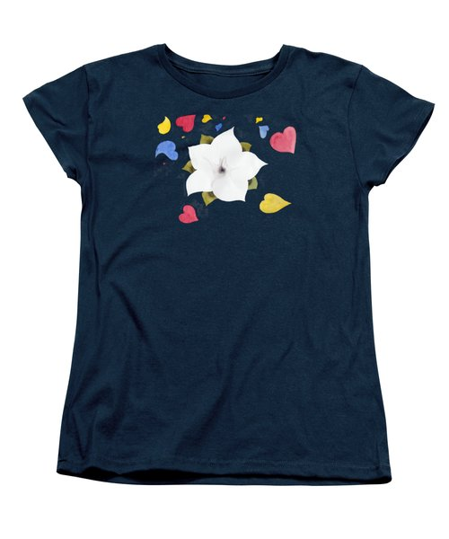 Women's T-Shirt (Standard Cut) featuring the painting Fleur Et Coeurs by Marc Philippe Joly