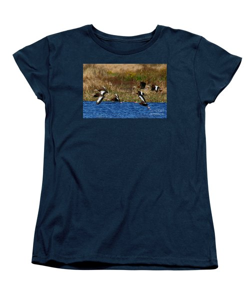 Women's T-Shirt (Standard Cut) featuring the photograph Flight Of The Whistlers by Myrna Bradshaw