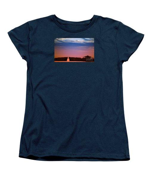 Floating On Orange Women's T-Shirt (Standard Cut) by Rebecca Davis