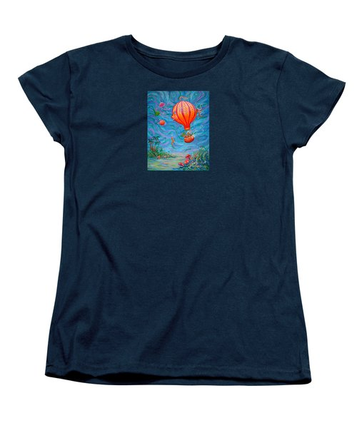 Women's T-Shirt (Standard Cut) featuring the painting Floating Under The Sea by Dee Davis