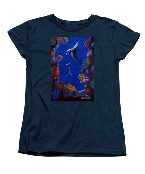 Floating Whales Women's T-Shirt (Standard Cut) by Rebecca Parker