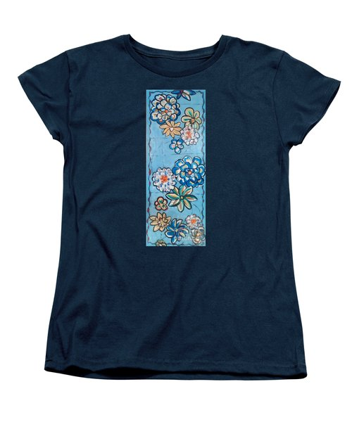 Floor Cloth Blue Flowers Women's T-Shirt (Standard Cut) by Judith Espinoza