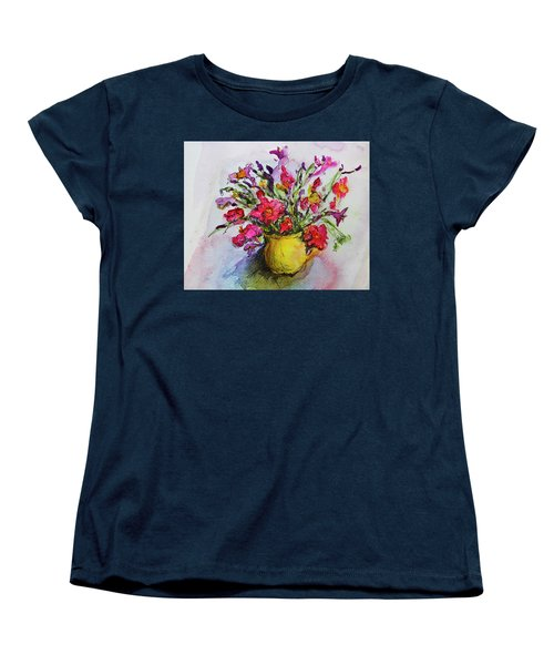 Women's T-Shirt (Standard Cut) featuring the painting Floral Still Life 05 by Linde Townsend