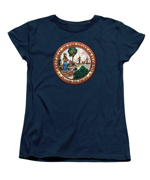 Florida State Seal Over Blue Velvet Women's T-Shirt (Standard Cut)