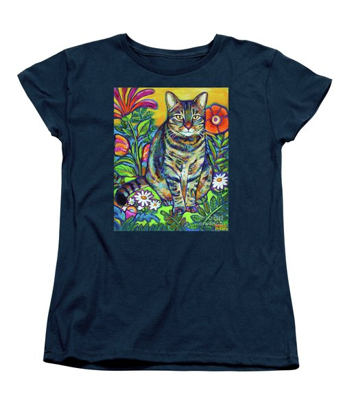 Women's T-Shirt (Standard Cut) featuring the painting Flower Kitty by Robert Phelps