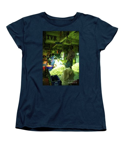 Women's T-Shirt (Standard Cut) featuring the photograph Flower Stalls Market Chennai India by Mike Reid