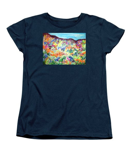 Women's T-Shirt (Standard Cut) featuring the painting Flowering Hills by Esther Newman-Cohen