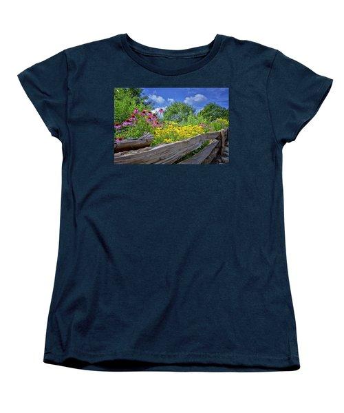 Flowers Along A Wooden Fence Women's T-Shirt (Standard Cut) by Steve Hurt