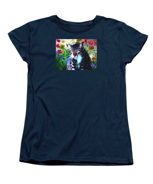 Flowers And Cat Women's T-Shirt (Standard Cut) by Dr Loifer Vladimir