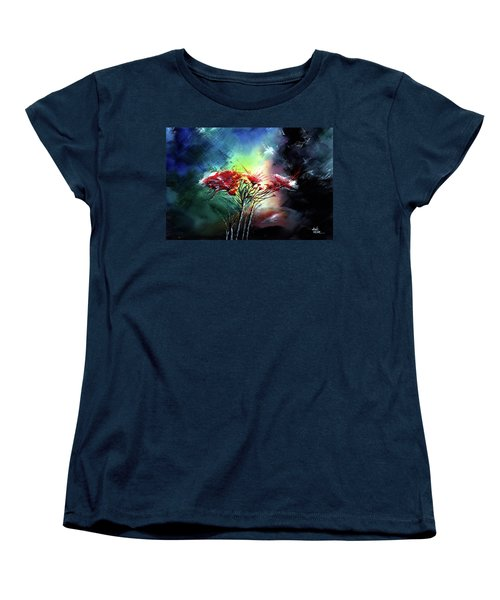 Women's T-Shirt (Standard Cut) featuring the painting Flowers by Anil Nene