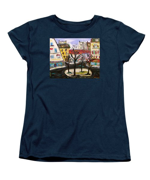 Women's T-Shirt (Standard Cut) featuring the painting Flowers At The Corner by Mary Carol Williams
