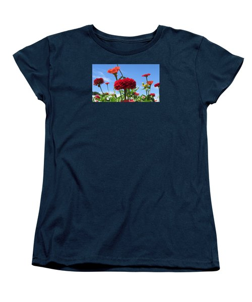 Flowers In The Blue Women's T-Shirt (Standard Cut) by Jeanette Oberholtzer