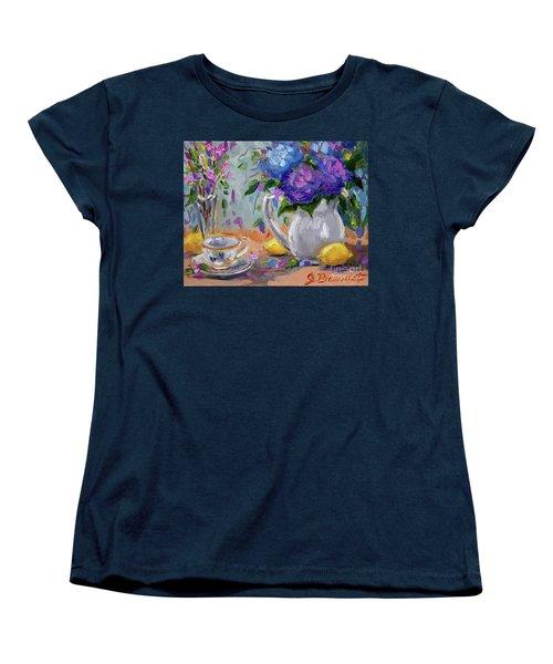 Women's T-Shirt (Standard Cut) featuring the painting Flowers Lemons by Jennifer Beaudet