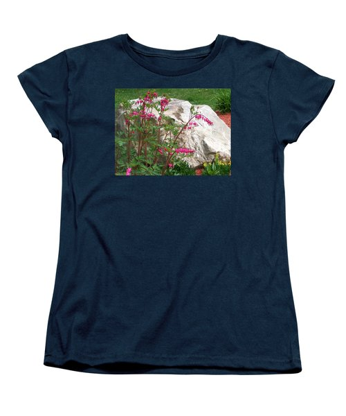 Women's T-Shirt (Standard Cut) featuring the digital art Flowers On The Rocks by Barbara S Nickerson