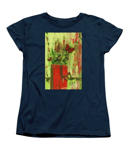 Women's T-Shirt (Standard Cut) featuring the mixed media Flowers,butteriflies, And Vase by P J Lewis