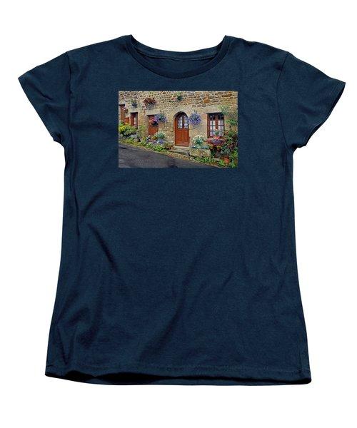 Flowery Doorways In Brittany Women's T-Shirt (Standard Cut) by Dave Mills