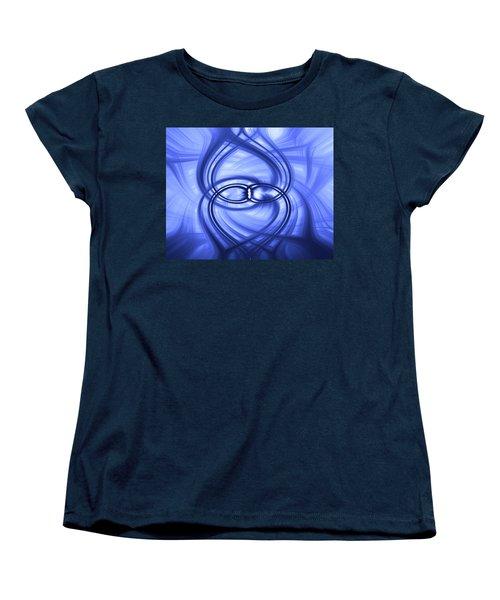 Women's T-Shirt (Standard Cut) featuring the digital art Fluid Blue by Carolyn Marshall