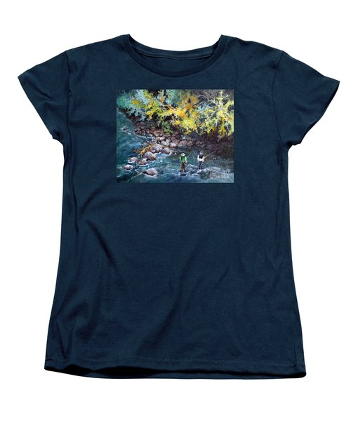 Fly Fishing Women's T-Shirt (Standard Cut) by Linda Shackelford