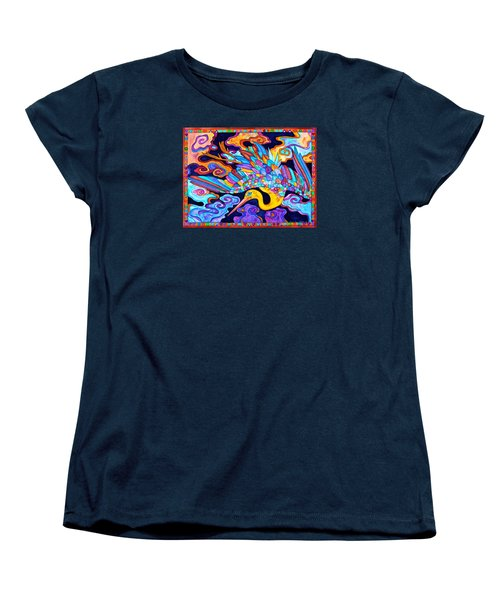 Women's T-Shirt (Standard Cut) featuring the painting Flying Crane by Lori Miller
