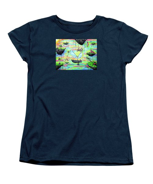 Women's T-Shirt (Standard Cut) featuring the painting Flying Islands by Viktor Lazarev