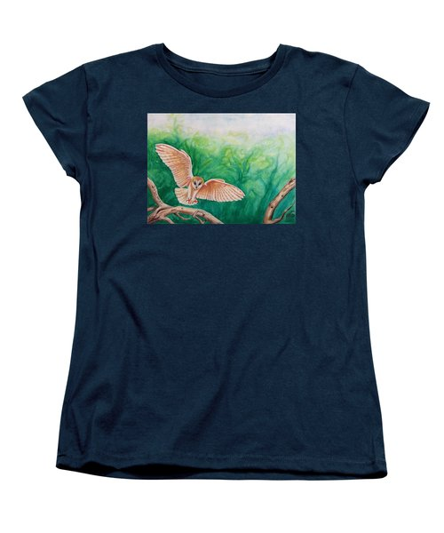 Women's T-Shirt (Standard Cut) featuring the painting Flying Owl by Steed Edwards
