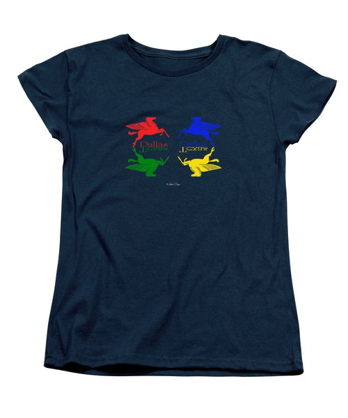Flying Red Green Blue Yellow Horse Dallas Texas Reflections Women's T-Shirt (Standard Cut) by Robert J Sadler