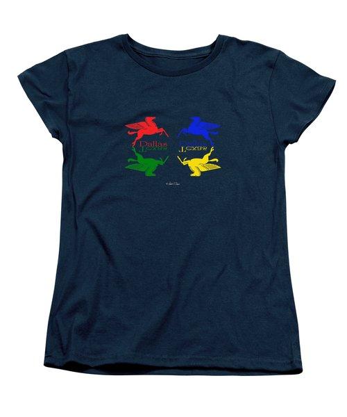 Flying Red Green Blue Yellow Horse Dallas Texas Reflections Women's T-Shirt (Standard Cut)
