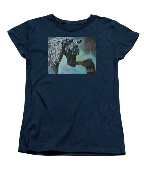 Women's T-Shirt (Standard Cut) featuring the painting Foal Kiss by Leslie Allen
