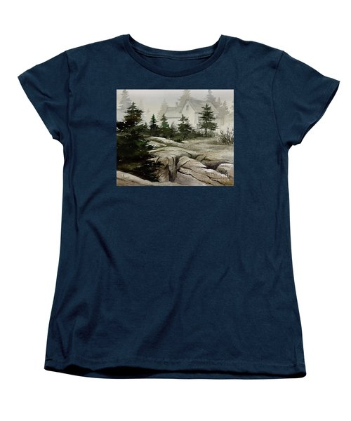 Women's T-Shirt (Standard Cut) featuring the painting Fog At The Coast by James Williamson