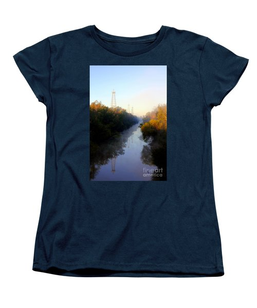 Foggy Fall Morning On The Sabine River Women's T-Shirt (Standard Cut) by Kathy  White