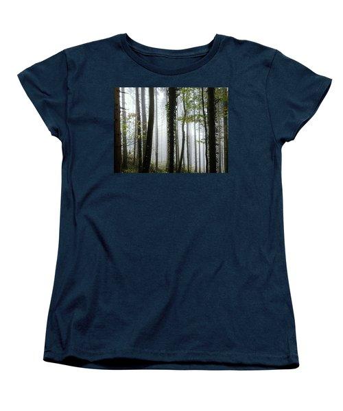 Women's T-Shirt (Standard Cut) featuring the photograph Foggy Forest by Chevy Fleet