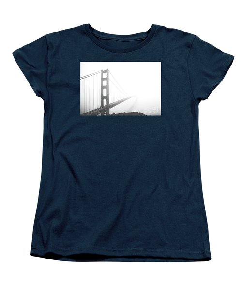 Women's T-Shirt (Standard Cut) featuring the photograph Foggy Golden Gate Bridge  by MGL Meiklejohn Graphics Licensing