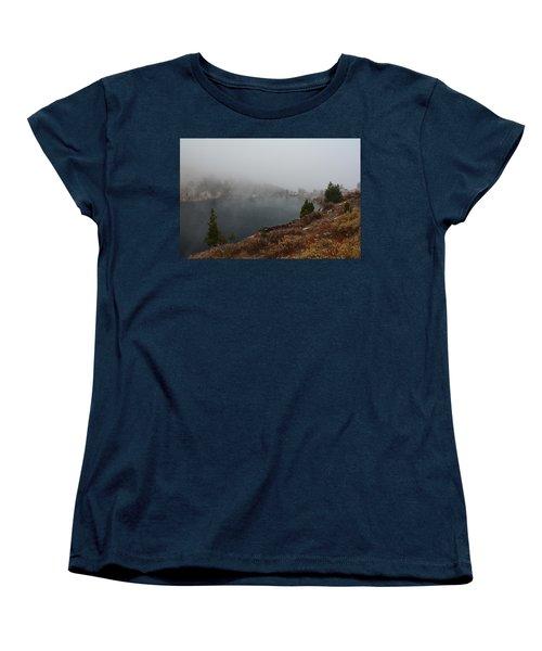 Women's T-Shirt (Standard Cut) featuring the photograph Foggy Liberty Lake by Jenessa Rahn