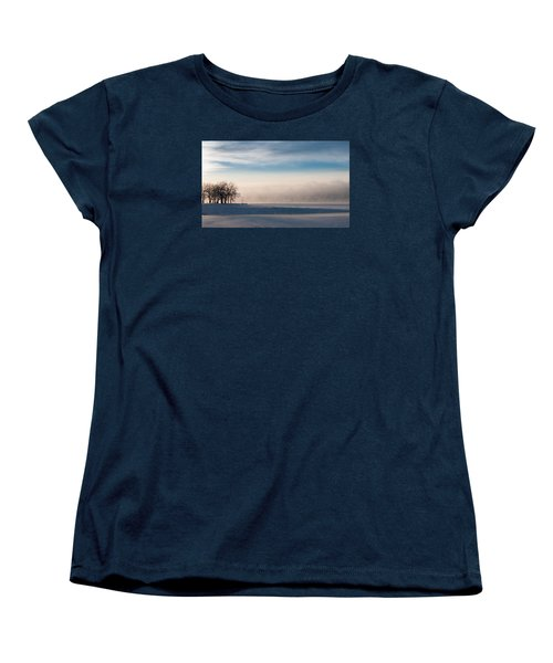Women's T-Shirt (Standard Cut) featuring the photograph Foggy Morning At Lake Loveland by Monte Stevens