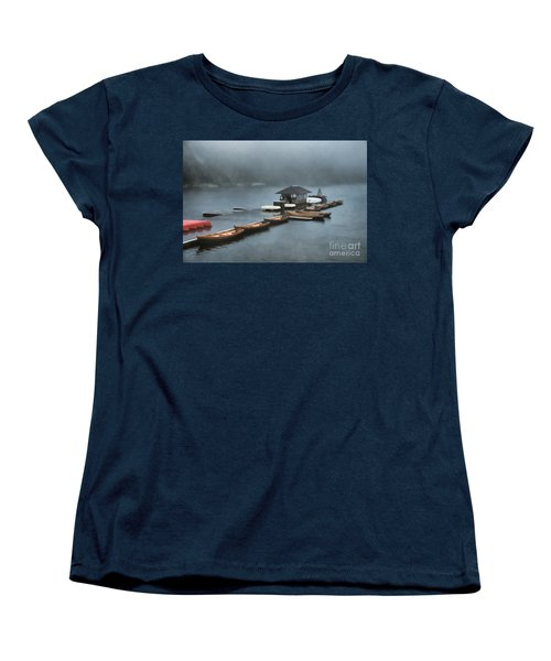 Foggy Morning At The Lake  Women's T-Shirt (Standard Cut) by Judy Palkimas
