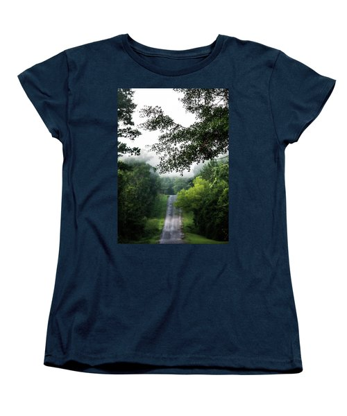 Women's T-Shirt (Standard Cut) featuring the photograph Foggy Road To Eternity  by Shelby Young