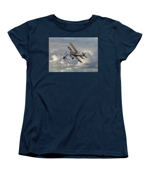 Women's T-Shirt (Standard Cut) featuring the digital art Fokker Dvll And Se5 Head To Head by Pat Speirs