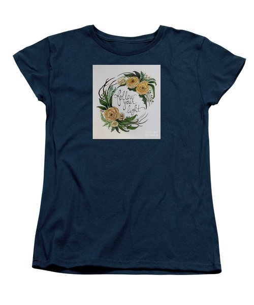 Women's T-Shirt (Standard Cut) featuring the painting Follow Your Light by Elizabeth Robinette Tyndall
