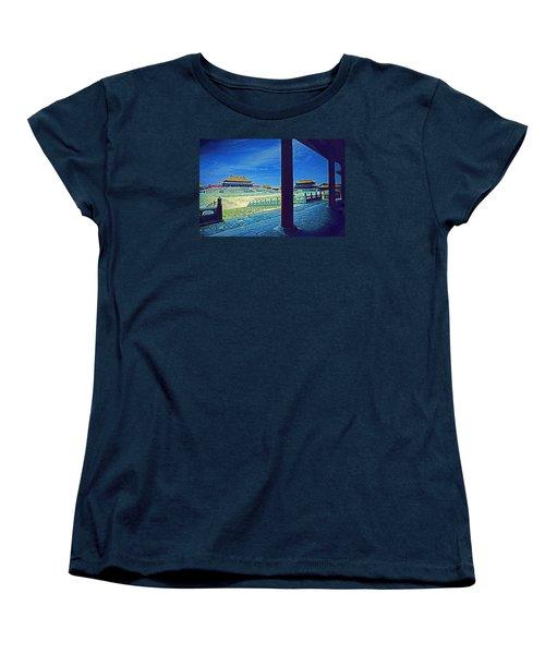 Women's T-Shirt (Standard Cut) featuring the photograph Forbidden City Porch by Dennis Cox ChinaStock