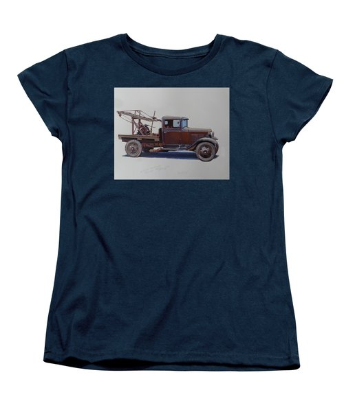 Women's T-Shirt (Standard Cut) featuring the painting Ford A Type Wrecker. by Mike  Jeffries