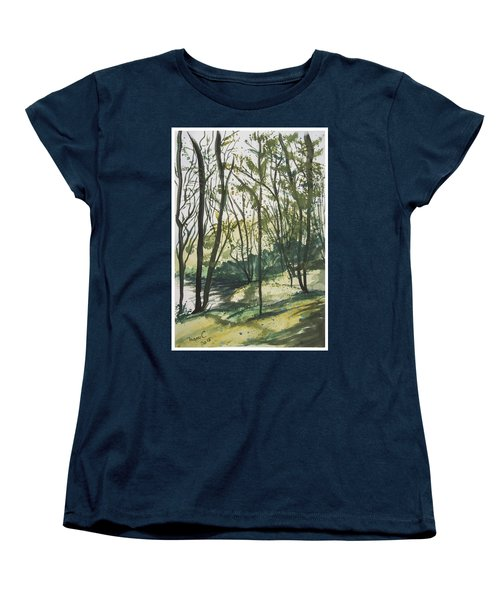 Women's T-Shirt (Standard Cut) featuring the painting Forest By The Lake by Manuela Constantin