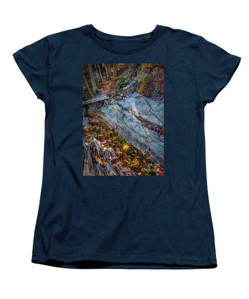 Women's T-Shirt (Standard Cut) featuring the photograph Forest Tidal Pool In Granite, Harpswell, Maine  -100436-100438 by John Bald