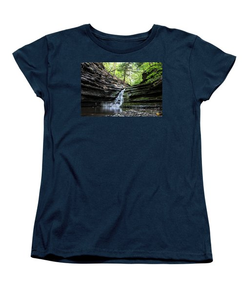 Women's T-Shirt (Standard Cut) featuring the photograph Forest Waterfall by MGL Meiklejohn Graphics Licensing