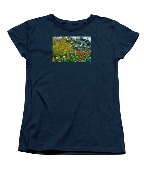 Women's T-Shirt (Standard Cut) featuring the photograph Forsythia Tulips And Daffadils by Diana Mary Sharpton